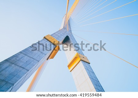 Mega sling Bridge,Rama 8, in bangkok Thailand (filter effect used) - stock photo