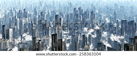 Megacity Computer generated 3D illustration - stock photo