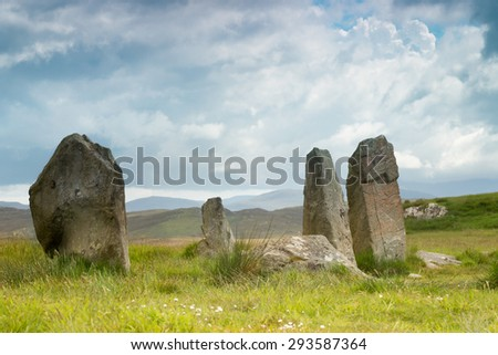 Megalithic stone circle of 3000 bc on the Isle of Lewis and Harris, Outer Hebrides, Scotland - stock photo