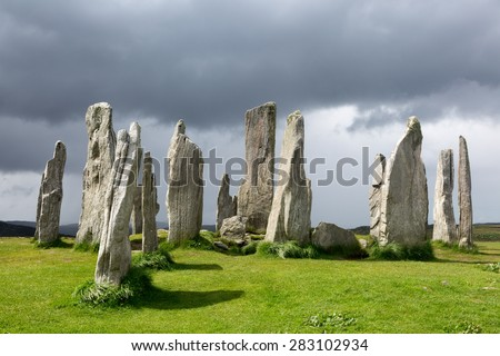Megalithic stone circle of 3000 bc on the Isle of Lewis and Harris, Outer Hebrides, Scotland in evening light - stock photo