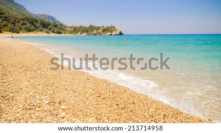 Megalo Seitani - located on the mountainous northwest coast of Samos the most beautiful beach on island - stock photo