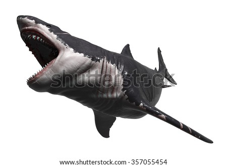 Megalodon stretching his jaws - stock photo