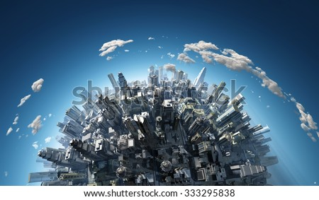 megalopolis aerial view, video clip 12545564 - stock photo