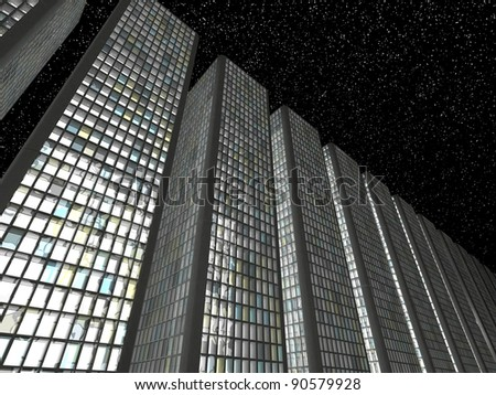 Megalopolis at night: Abstract skyscrapers in a row - stock photo