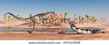 Megalosaurus and Titanoboa attacking each other Computer generated 3D illustration - stock photo
