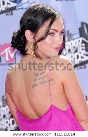 Megan Fox arriving at the 2007 MTV Movie Awards. Gibson Amphitheatre, Universal City, CA. 06-03-07 - stock photo