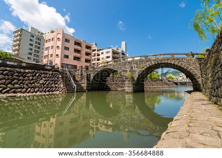 Meganebashi or Spectacles Bridge in Nagasaki, Japan