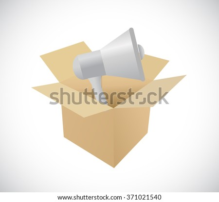 megaphone and box illustration design graphic isolated over white