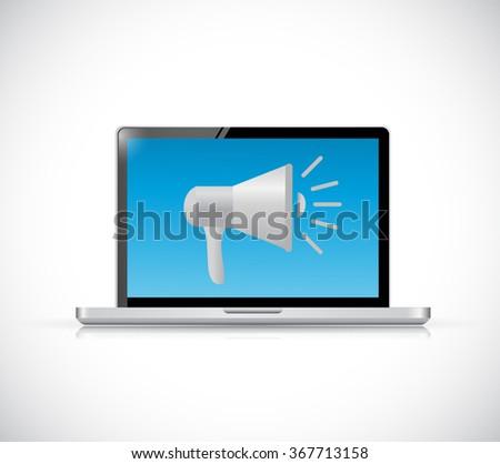 megaphone and laptop computer communication concept illustration design graphic - stock photo