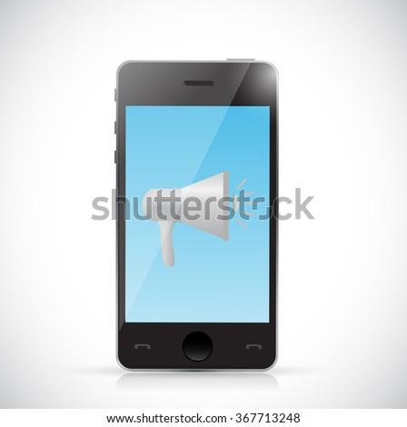 megaphone and phone communication concept illustration design graphic - stock photo