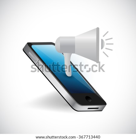 megaphone and smartphone concept illustration design graphic - stock photo
