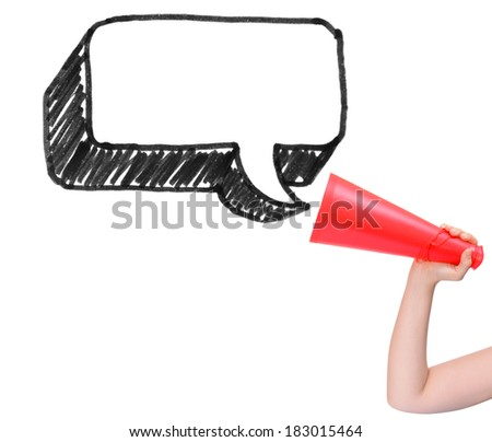Megaphone announcing chat box isolated on white background - stock photo