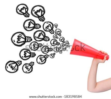 Megaphone announcing idea isolated on white background - stock photo