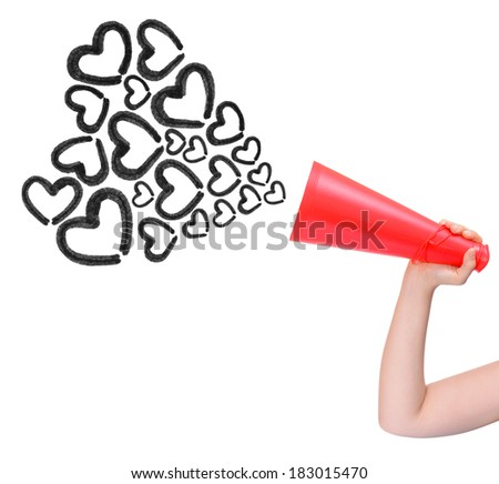 Megaphone announcing love isolated on white background - stock photo