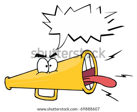 Megaphone Cartoon Character Screaming With Shout Bubble - stock photo