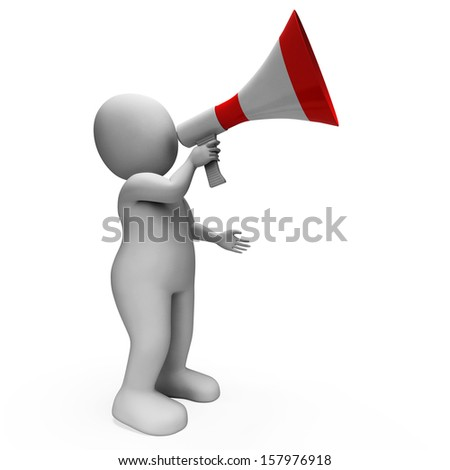 Megaphone Character Showing Announcements Proclaiming And Announcing - stock photo