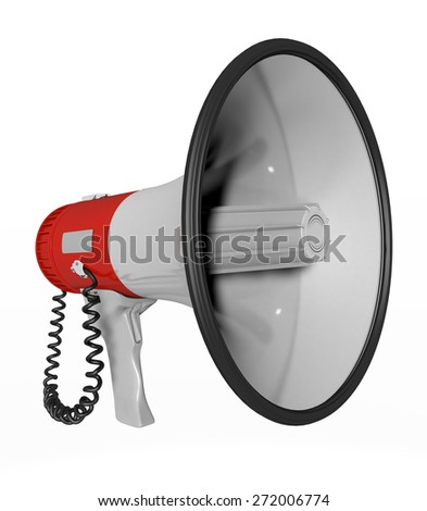 Megaphone cropped in red and white - stock photo