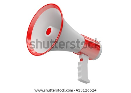 Megaphone, 3D rendering  isolated on white background - stock photo