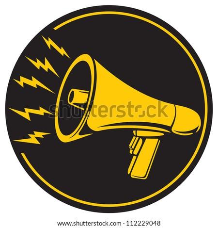 megaphone icon (bullhorn icon, megaphone button, megaphone symbol) - stock photo