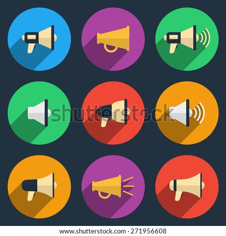 Megaphone icons set. Color pictogram, loudspeaker and audio, broadcasting and speaker - stock photo