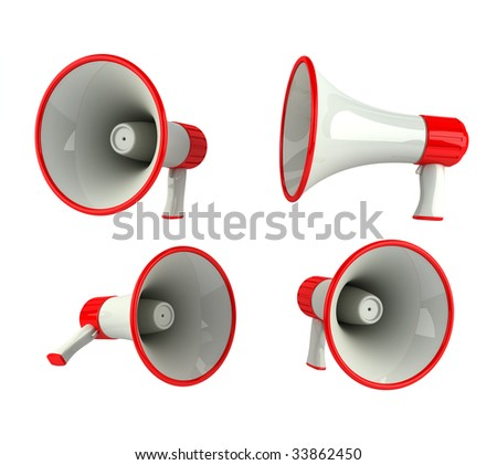 Megaphone in different angles, isolated over white
