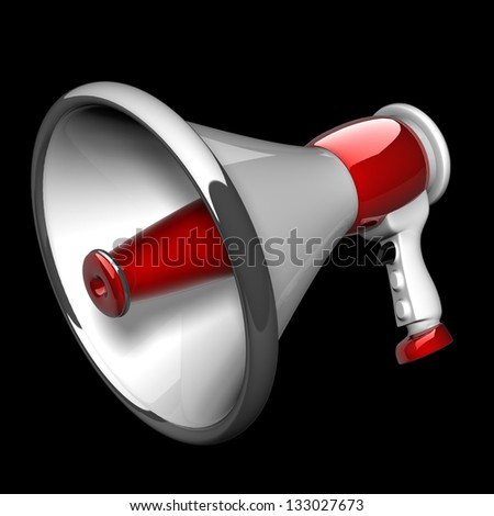 megaphone isolated on black background. High resolution. 3D image