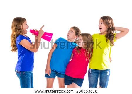 megaphone leader kid girl shouting speaking to friends on white background political leadership - stock photo