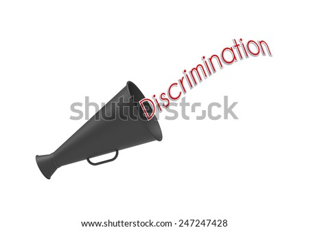 Megaphone on simple white background with pop-up caption 'Discrimination'. Concept for calling or campaign about social justice. - stock photo