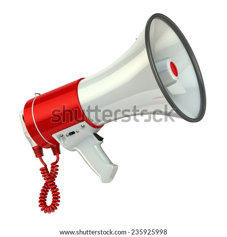 Megaphone or loudspeaker isolated on white. 3d - stock photo