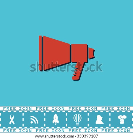Megaphone. Red flat symbol with dark shadow and bonus icon. Simple illustration pictogram on blue background