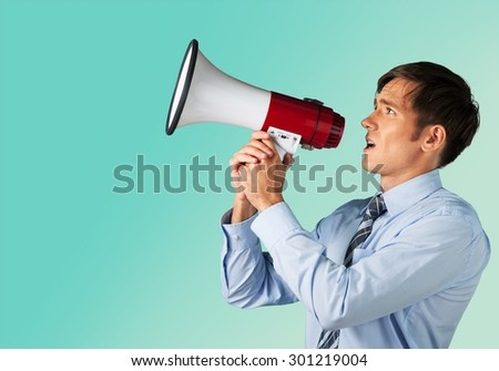 Megaphone, Talking, Men.