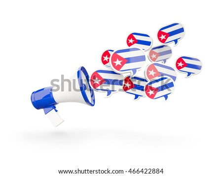 Megaphone with flag of cuba isolated on white. 3D illustration