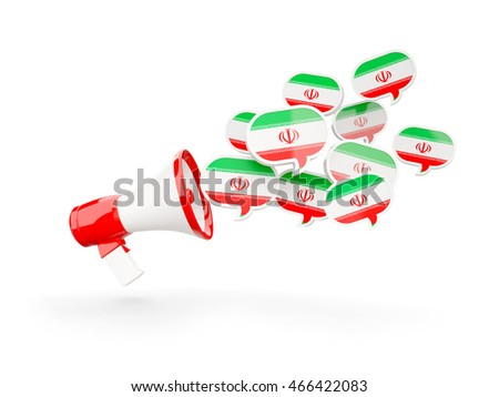 Megaphone with flag of iran isolated on white. 3D illustration