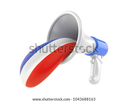 Megaphone with french tongue isolated on white background. 3d illustration