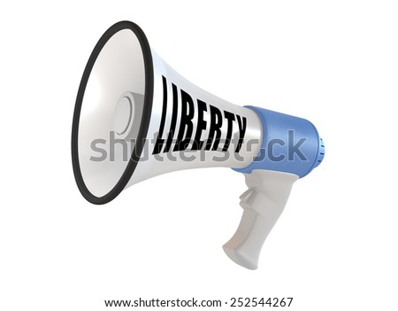 Megaphone with liberty text isolated on white background