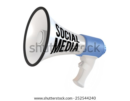 Megaphone with social media text isolated on white background - stock photo