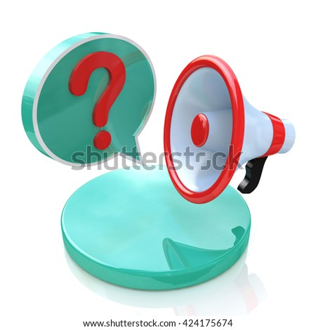 Megaphone with Speech Bubble and Question mark in the design of information related to communication. 3d illustration - stock photo