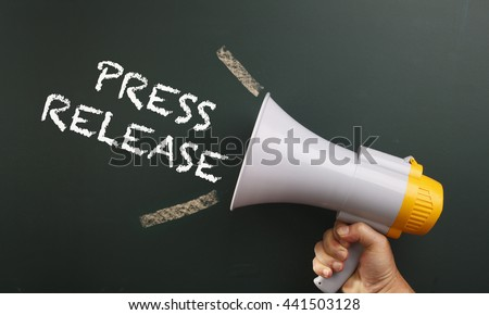 megaphone with text press release - stock photo