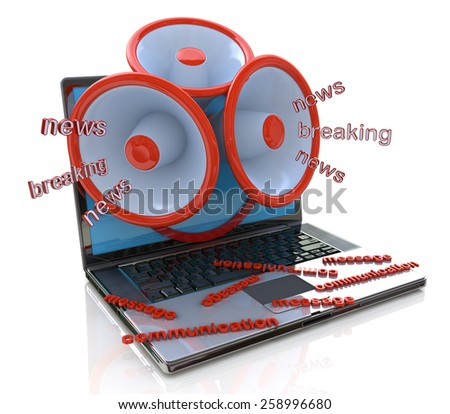 Megaphones coming out of laptop screen concept, online breaking news, media  - stock photo