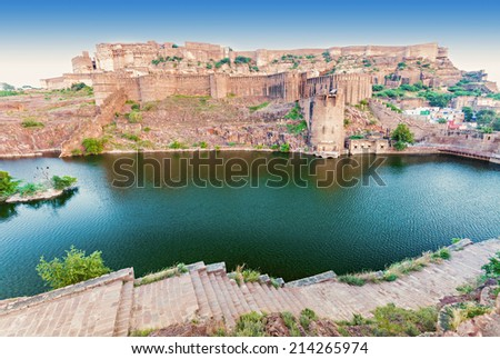 Mehrangarh Fort in Jodhpur, India. Mehrangarh Fort is one of the largest forts in India. - stock photo