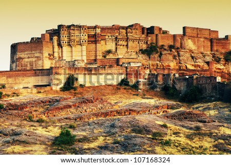 Mehrangarh Fort in sunset light, Jodhpur, Rajasthan, India