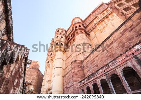 Mehrangarh Fort located in Jodhpur, Rajasthan State, India - stock photo