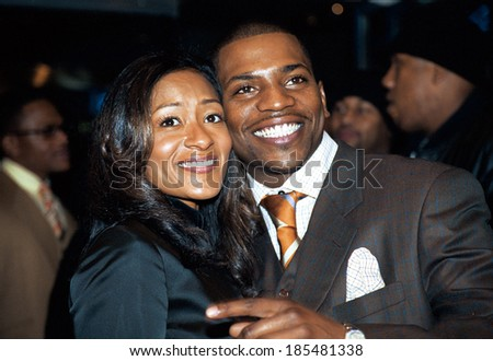 Mekhi Phifer and girlfriend Reshelet at premiere of HONEY, NY 11/24/2003 - stock photo