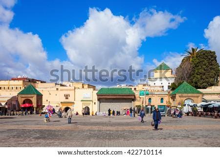 MEKNES, MOROCCO - FEBRUARY 29, 2016: El Hedim Square in Meknes, Morocco. El Hedim is a main and biggest square in Meknes, Morocco - stock photo