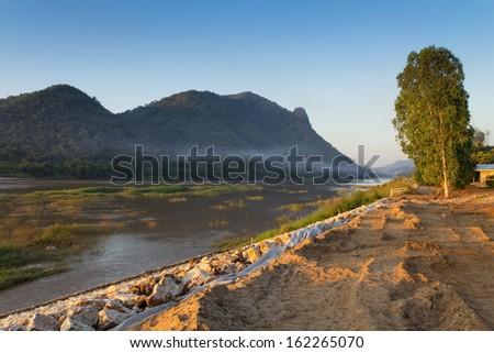 Mekong River at Chinag Khan, Thailand - stock photo
