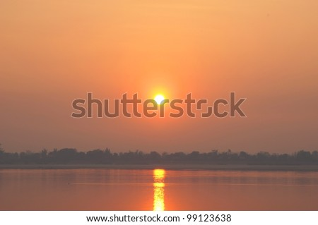 Mekong River at sunset. Four thousand islands in Laos - stock photo