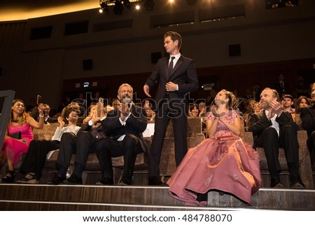 Mel Gibson, Teresa Palmer, Andrew Garfield, Hugo Weaving , Vince Vaughn  at the premiere of Hacksaw Ridge at the 2016 Venice Film Festival. September 4, 2016  Venice, Italy