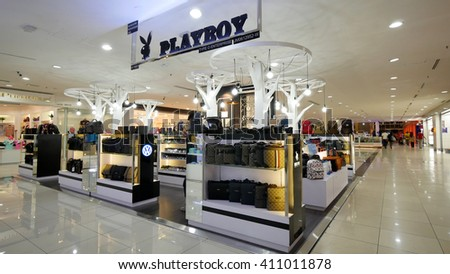 MELAKA, MALAYSIA - April 23, 2016. Playboy store inside Mahkota Parade Mall. Playboy is an American privately held global media and lifestyle company headquartered in Beverly Hills, California. - stock photo