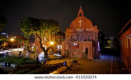 MELAKA, MALAYSIA, April 23, 2016: Red Church in Dutch square in Melaka town. Dutch colonized Melaka from 1641 to 1824.  - stock photo