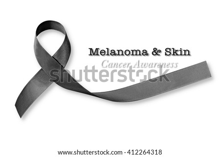Melanoma and skin cancer text message with awareness ribbon isolated on white background (clipping path): Shiny fabric clothes symbolic logo raising public support campaign concept people w/ tumor - stock photo
